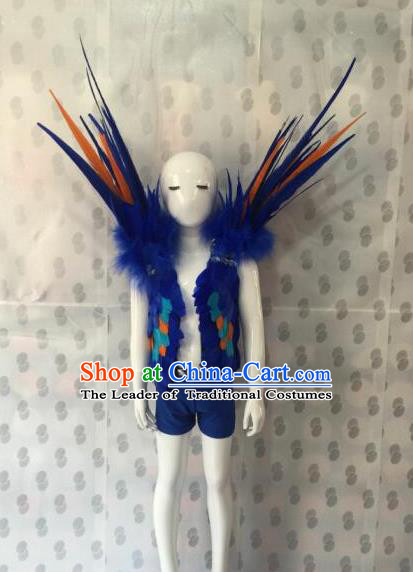 Top Grade Compere Professional Performance Catwalks Swimsuit Costume, Children Chorus Blue Feather Formal Dress Modern Dance Modern Fancywork Clothing for Boys Kids