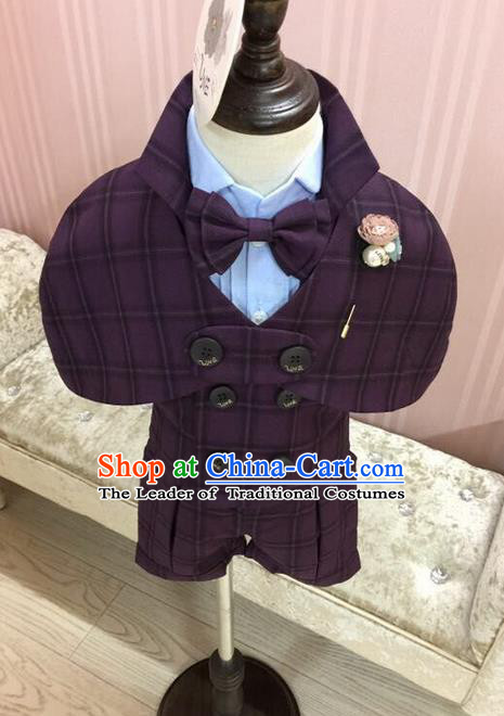 Top Grade Compere Professional Performance Catwalks Blazer Costume Complete Set, Children Chorus Customize Tuxedo Suits Modern Dance Modern Fancywork Little Gentleman Clothing for Boys Kids