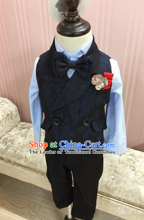 Top Grade Compere Professional Performance Catwalks Blazer Costume Complete Set, Children Chorus Customize Black Tuxedo Suits Modern Dance Modern Fancywork Little Gentleman Clothing for Boys Kids