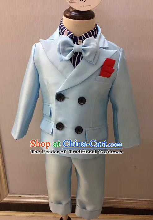 Top Grade Compere Professional Performance Catwalks Blazer Costume Complete Set, Children Chorus Customize Grey Tuxedo Suits Modern Dance Modern Fancywork Little Gentleman Clothing for Boys Kids