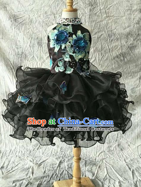 Top Grade Compere Professional Performance Catwalks Customize Costume, Children Chorus Black Bubble Full Dress Modern Dance Modern Fancywork Little Princess Short Ball Gown for Girls Kids
