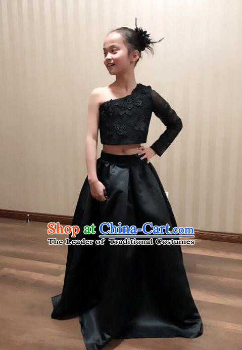Top Grade Compere Professional Performance Catwalks Customize Costume, Children Chorus Black Full Dress Modern Dance Modern Fancywork Little Princess Long Dress Ball Gown for Girls Kids