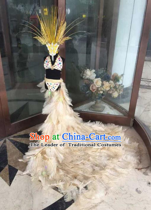 Top Grade Compere Professional Performance Catwalks Swimsuit Bikini Costume, Children Chorus Customize Feather Full Dress Modern Dance Baby Princess Modern Fancywork Long Trailing Clothing for Girls Kids