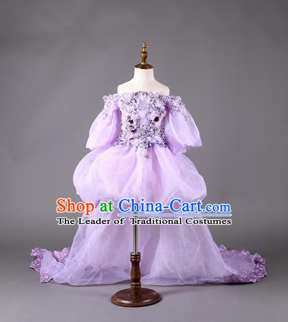 Top Grade Professional Compere Performance Catwalks Customize Costume, Children Chorus Purple Full Dress Modern Dance Modern Fancywork Little Princess Long Trailing Ball Gown for Girls Kids
