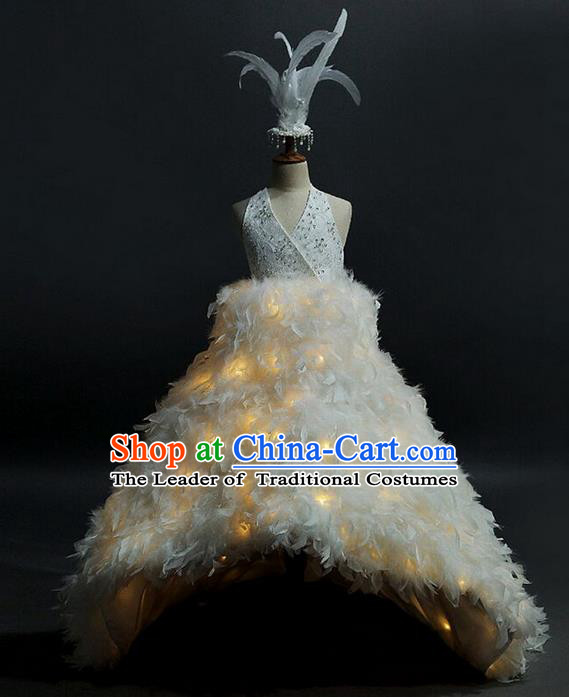 Top Grade Professional Compere Performance Catwalks Customize Feather Costume, Children Chorus Beige Full Dress Modern Dance Modern Fancywork Little Princess Long Trailing Ball Gown for Girls Kids