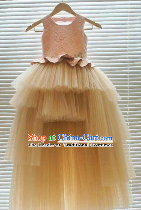 Top Grade Professional Compere Performance Catwalks Customize Costume, Children Chorus Pink Bubble Full Dress Modern Dance Modern Fancywork Little Princess Long Trailing Dress for Girls Kids
