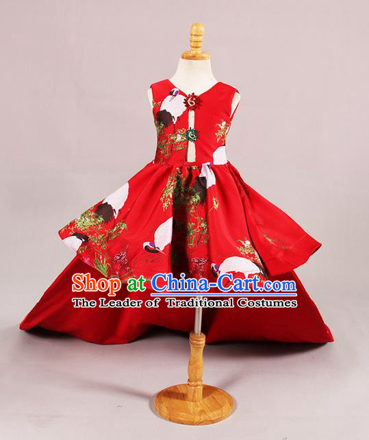 Top Grade Professional Compere Performance Catwalks Customize Costume, Children Chorus Red Full Dress Modern Dance Modern Fancywork Little Princess Long Trailing Dress for Girls Kids