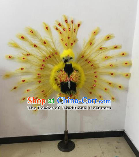 Top Grade Compere Professional Performance Catwalks Swimsuit Bikini Costume, Children Chorus Customize Yellow Peacock Feather Full Dress Modern Dance Baby Princess Modern Fancywork Clothing Complete Set for Girls Kids