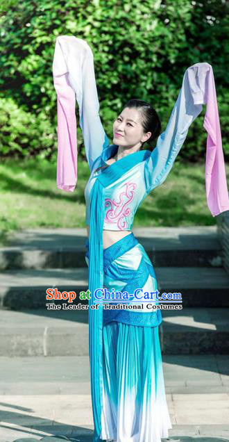 Traditional Chinese Ancient Flying Dance Water-Sleeve Yangge Fan Dancing Costume, Folk Dance Yangko Costume For Women