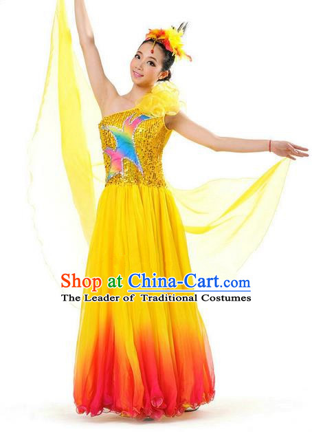 Chinese Classic Stage Performance Chorus Singing Group Dance Costumes, Opening Dance Competition Yellow Dress, Classic Dance Clothing for Women
