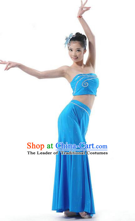 Traditional Chinese Dai Nationality Peacock Dancing Costume, Folk Dance Ethnic Costume, Chinese Minority Nationality Dancing Blue Dress for Women