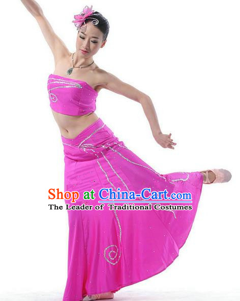 Traditional Chinese Dai Nationality Peacock Dancing Costume, Folk Dance Ethnic Costume, Chinese Minority Nationality Dancing Pink Dress for Women