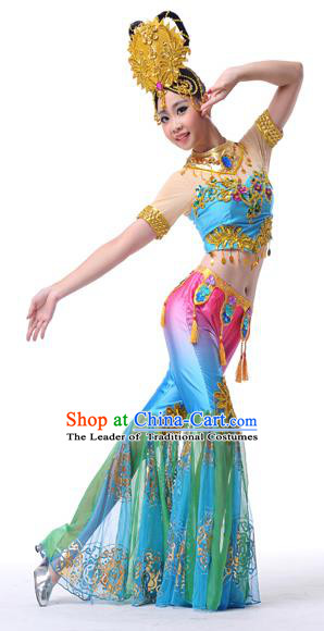 Traditional Chinese Ancient Flying Dance Yangge Fan Dance Dress, Folk Dance Yangko Clothing for Women