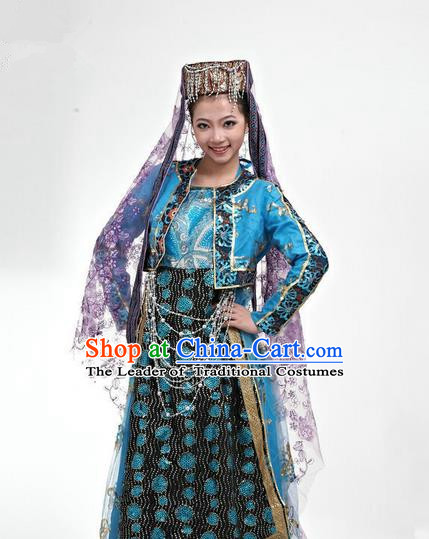 Traditional Chinese Hui Nationality Dancing Costume, Folk Dance Hui Ethnic Blue Costume, Chinese Hui Minority Nationality Uigurian Dance Costume for Women