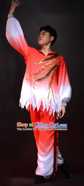 Traditional Chinese Classical Dance Yangge Lion Dance Costume, Folk Dance Drum Dance Uniform Yangko Red Clothing Complete Set for Men