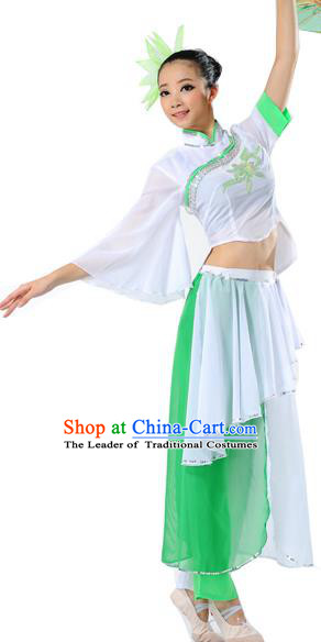Traditional Chinese Classical Dance Umbrella Dance Yangge Fan Dancing Costume, Folk Dance Drum Dance Uniform Yangko Costume Complete Set for Women
