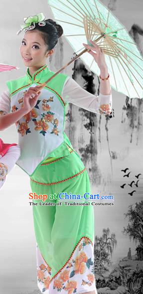 Traditional Chinese Classical Dance Yangge Fan Dancing Umbrella Dance Costume, Folk Dance Drum Dance Uniform Yangko Green Clothing Complete Set for Women
