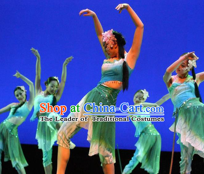Traditional Chinese Classical Dance Fan Dancing Umbrella Dance Costume, Folk Dance Drum Dance Uniform Yangko Green Clothing Complete Set for Women