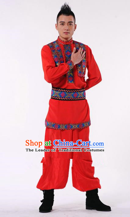 Traditional Chinese Classical Dance Yangge Lion Dance Costume, Uigurian Folk Dance Drum Dance Uniform Yangko Clothing Complete Set for Men