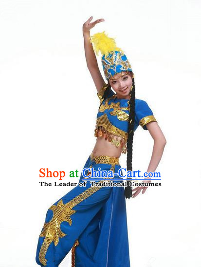 Traditional Chinese Uyghur Nationality Dancing Costume, Folk Dance Ethnic Clothing Blue Uniform, Chinese Minority Nationality Uigurian Dance Costume for Women