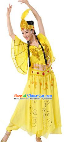 Traditional Chinese Uyghur Nationality Dancing Costume, Folk Dance Ethnic Clothing Yellow Dress, Chinese Minority Nationality Uigurian Dance Costume for Women