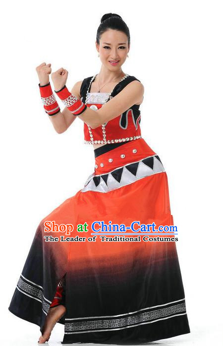Traditional Chinese Wa Nationality Dancing Costume, Wa Zu Female Folk Dance Ethnic Skirt, Chinese Wa Minority Nationality Embroidery Costume for Women