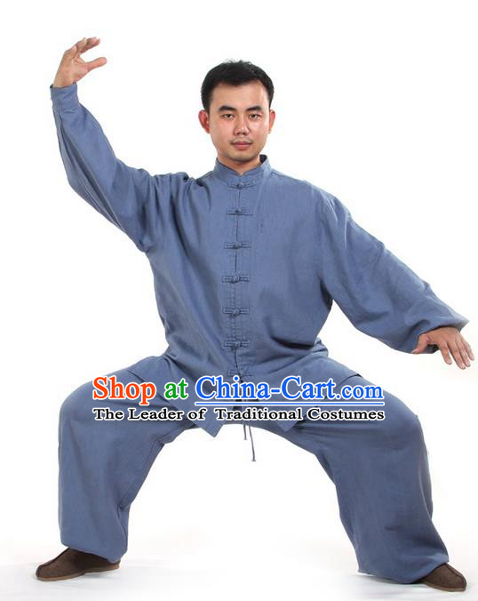 Top Kung Fu Costume Pulian Clothing Martial Arts Blue Suits, Training Costume Tai Ji Uniforms Gongfu Shaolin Wushu Tai Chi Clothing for Men