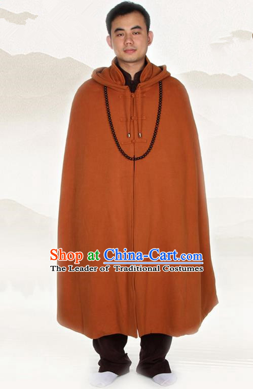 Top Kung Fu Costume Martial Arts Coffee Cloak Pulian Clothing, Tai Ji Mantle Gongfu Shaolin Wushu Tai Chi Meditation Cape for Men