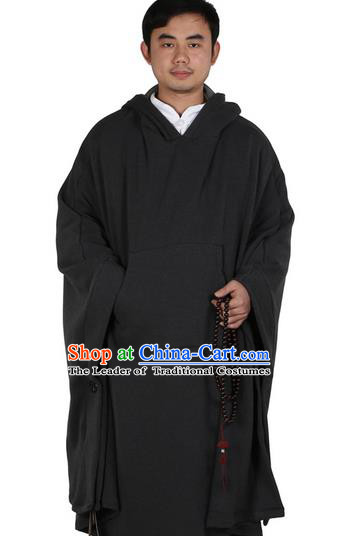 Top Kung Fu Costume Martial Arts Deep Grey Cloak Pulian Zen Clothing, Tai Ji Mantle Gongfu Shaolin Wushu Tai Chi Meditation Hooded Cape for Men