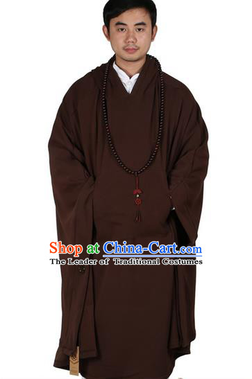 Top Kung Fu Costume Martial Arts Coffee Cloak Pulian Zen Clothing, Tai Ji Mantle Gongfu Shaolin Wushu Tai Chi Meditation Hooded Cape for Men