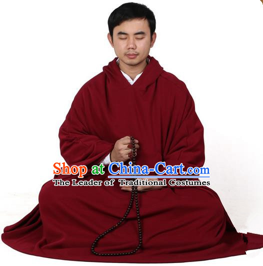 Top Kung Fu Costume Martial Arts Wine Red Cloak Pulian Zen Clothing, Tai Ji Mantle Gongfu Shaolin Wushu Tai Chi Meditation Hooded Cape for Men