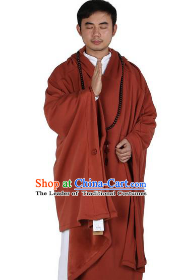 Top Kung Fu Costume Martial Arts Orange Red Cloak Pulian Zen Clothing, Tai Ji Mantle Gongfu Shaolin Wushu Tai Chi Meditation Hooded Cape for Men