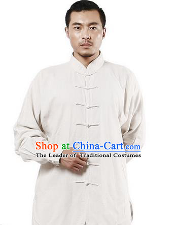 Top Grade Kung Fu Costume Martial Arts Beige Linen Suits Pulian Zen Clothing, Training Costume Tai Ji Uniforms Gongfu Shaolin Wushu Tai Chi Plated Buttons Clothing for Men