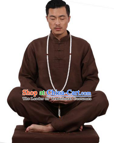 Top Grade Kung Fu Costume Martial Arts Coffee Ice Silk Linen Suits Pulian Zen Clothing, Training Costume Tai Ji Uniforms Gongfu Shaolin Wushu Tai Chi Plated Buttons Clothing for Men