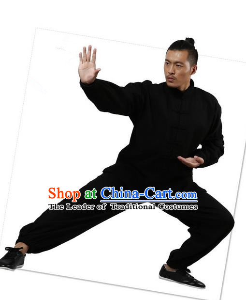 Top Grade Kung Fu Costume Martial Arts Black Brushed Linen Thicken Suits Pulian Zen Clothing, Training Costume Tai Ji Uniforms Gongfu Shaolin Wushu Tai Chi Plated Buttons Clothing for Men