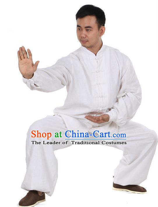 Top Kung Fu Costume Martial Arts White Suits, Training Costume Pulian Clothing Tai Ji Uniforms Gongfu Shaolin Wushu Tai Chi Clothing for Men
