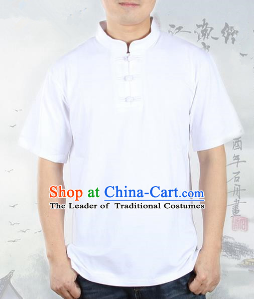 Top Grade Kung Fu Costume Martial Arts White Upper Outer Garment Pulian Zen Clothing, Training Costume Gongfu Shaolin Wushu Tai Chi Plated Buttons T-Shirts Clothing for Men