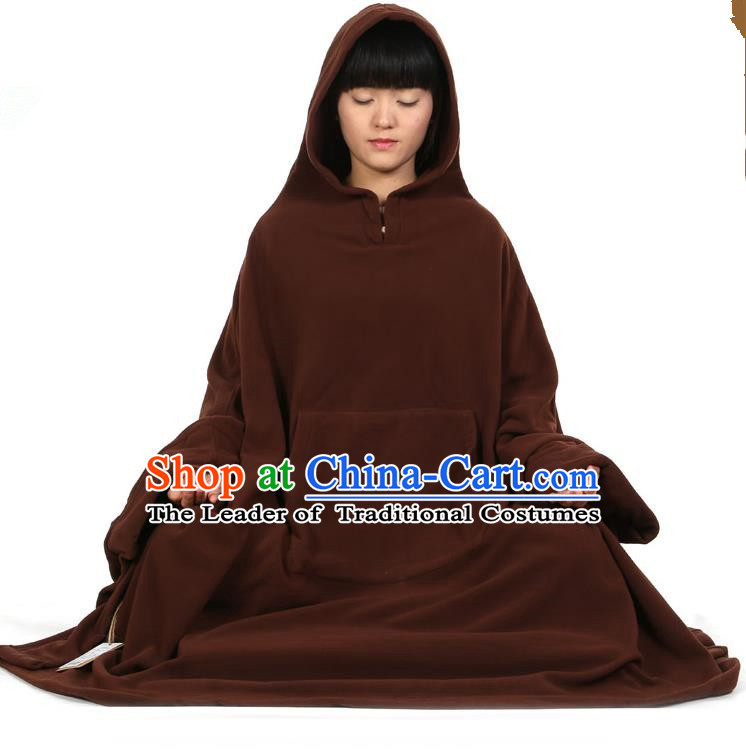 Top Kung Fu Costume Martial Arts Brownness Cloak Pulian Clothing, Tai Ji Mantle Gongfu Shaolin Wushu Tai Chi Meditation Cape for Women
