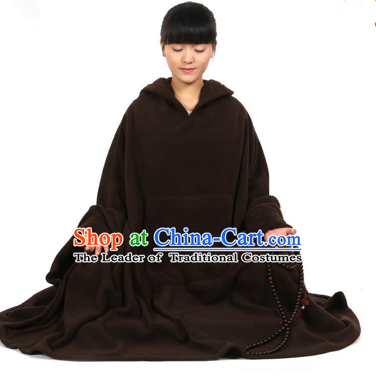 Top Kung Fu Costume Martial Arts Deep Brownness Cloak Pulian Clothing, Tai Ji Mantle Gongfu Shaolin Wushu Tai Chi Meditation Cape for Women