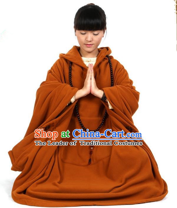 Top Kung Fu Costume Martial Arts Coffee Yellow Cloak Pulian Clothing, Tai Ji Mantle Gongfu Shaolin Wushu Tai Chi Meditation Cape for Women
