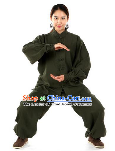 Top Kung Fu Costume Pulian Clothing Martial Arts Army Green Linen Suits, Training Costume Tai Ji Uniforms Gongfu Shaolin Wushu Tai Chi Clothing for Women