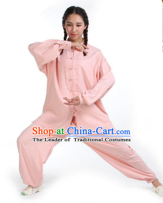 Top Kung Fu Costume Pulian Clothing Martial Arts Army Pink Linen Suits, Training Costume Tai Ji Uniforms Gongfu Shaolin Wushu Tai Chi Clothing for Women