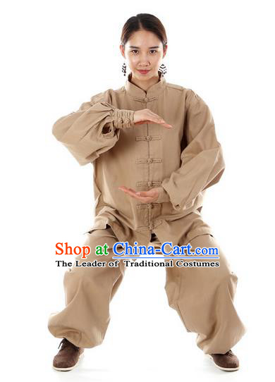 Top Kung Fu Costume Pulian Clothing Martial Arts Army Khaki Linen Suits, Training Costume Tai Ji Uniforms Gongfu Shaolin Wushu Tai Chi Clothing for Women