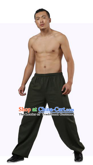 Top Grade Kung Fu Costume Martial Arts Army Green Linen Pants Pulian Zen Clothing, Training Bloomers Gongfu Trousers Shaolin Wushu Tai Chi Plus Fours for Men