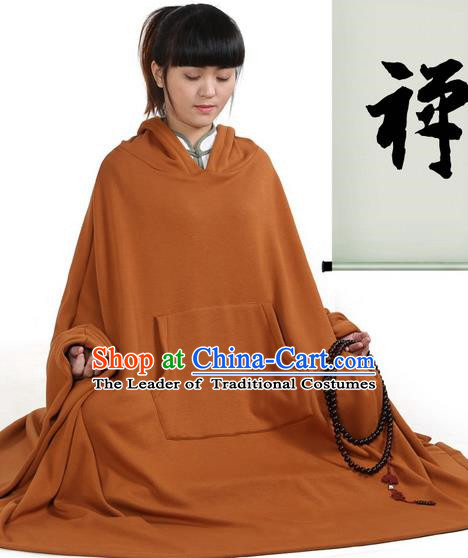 Top Kung Fu Costume Martial Arts Coffee Ywllow Hooded Cloak Pulian Clothing, Tai Ji Mantle Gongfu Shaolin Wushu Tai Chi Meditation Cape for Women