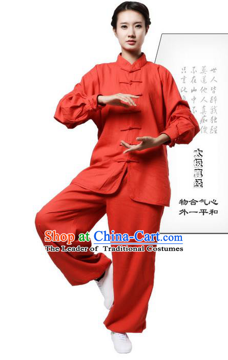 Top Grade Kung Fu Costume Martial Arts Orange Red Linen Suits Pulian Zen Clothing, Training Costume Tai Ji Uniforms Gongfu Shaolin Wushu Tai Chi Plated Buttons Clothing for Women