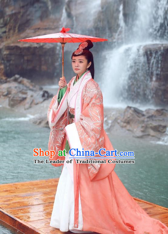 Traditional Chinese Ancient Imperial Princess Costume and Headpiece Complete Set, Chinese Northern and Southern Dynasties Television Tokgo World Imperial Consort Embroidered Hanfu Clothing for Women