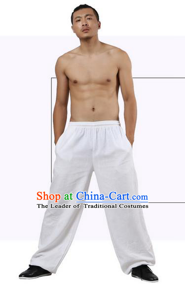 Top Grade Kung Fu Costume Martial Arts White Linen Pants Pulian Zen Clothing, Training Bloomers Gongfu Trousers Shaolin Wushu Tai Chi Plus Fours for Men