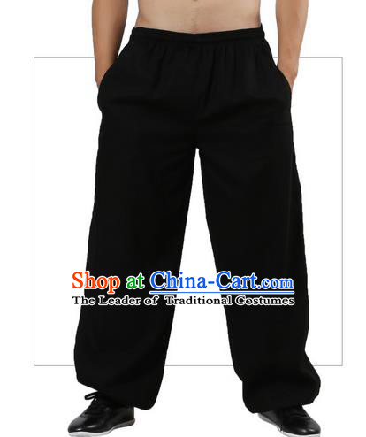 Top Grade Kung Fu Costume Martial Arts Black Linen Pants Pulian Zen Clothing, Training Bloomers Gongfu Trousers Shaolin Wushu Tai Chi Plus Fours for Men