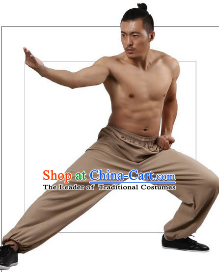 Top Grade Kung Fu Costume Martial Arts Khaki Linen Pants Pulian Zen Clothing, Training Bloomers Gongfu Trousers Shaolin Wushu Tai Chi Plus Fours for Men
